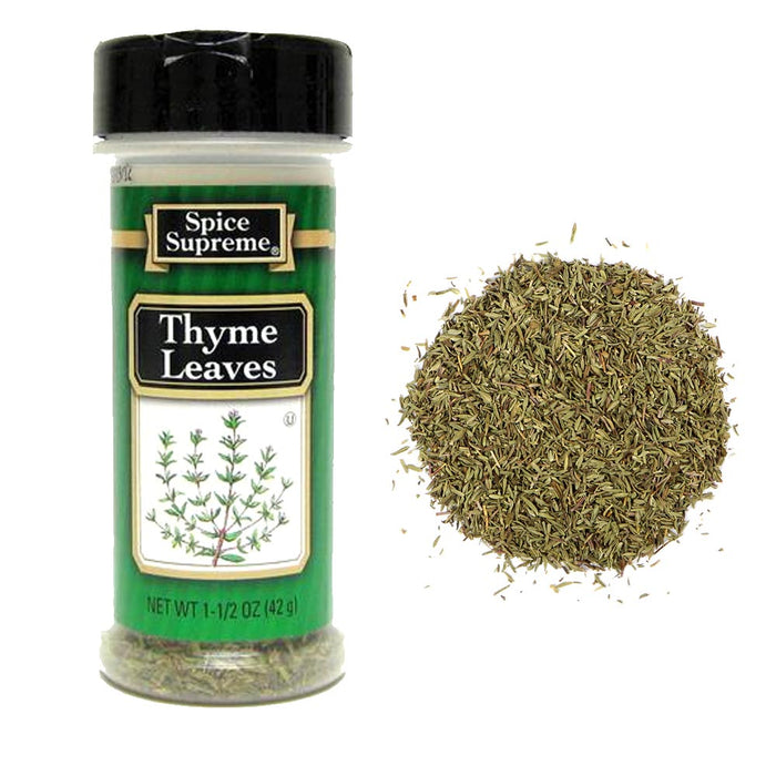 2Pc Spice Supreme Thyme Leaves Seasoning 1.5 Ounce Jar Cooking Dry Meats Veggies