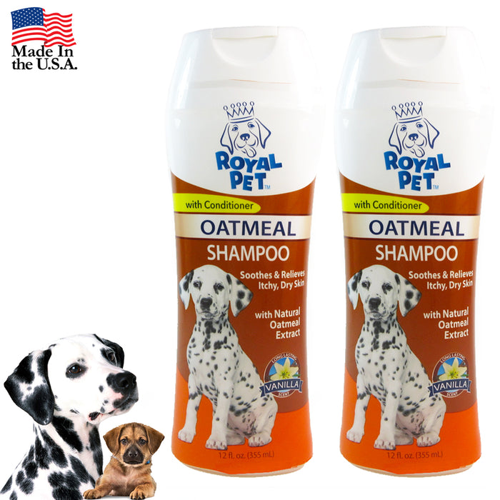 2X Pet Natural Oatmeal Dog Shampoo Odor Eliminator Vanilla Dry Itching Skin 24oz