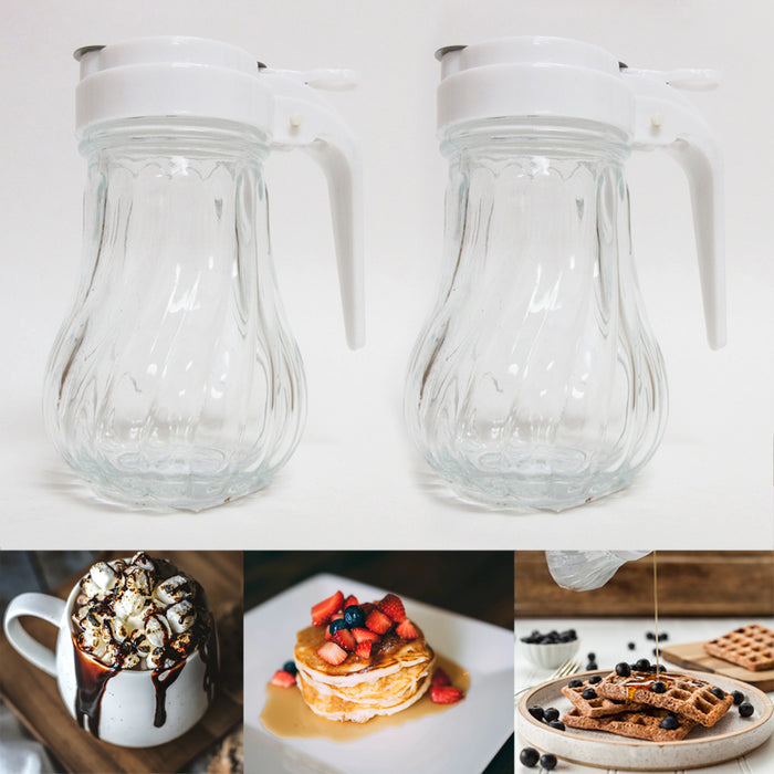 2 Pack Honey Syrup Dispenser Glass Jar 7.6 oz Retro Style Container W Handle USA