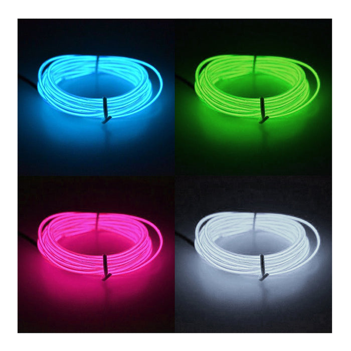 Neon LED Flexible Light Glow 10Ft Wire String Strip Rope Decor Controller 3 Mode