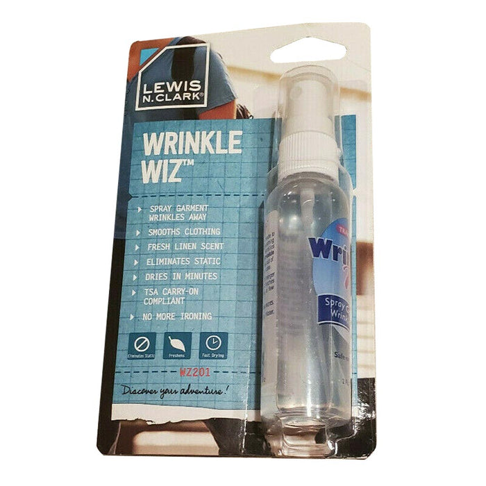 Lewis N Clark Wrinkle Wiz Travel Size Spray Clothing Garment TSA Easy Iron 2 Oz.