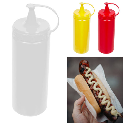 2 Pk 13oz Plastic Squeeze Bottle Condiment Ketchup Mustard Oil Mayo Sauce Colors