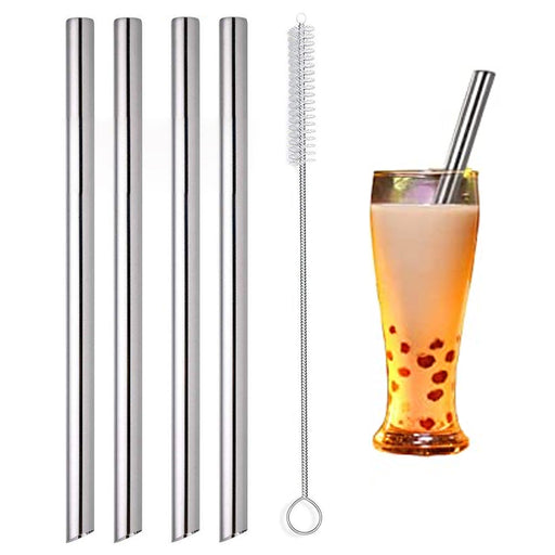 4pc Joie Bubble Tea Straws Stainless Steel Wide Opening Tapioca Pearl Drink Tool