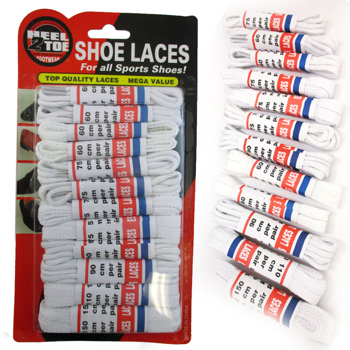 12 Pair White Shoe Laces High Quality Sports Boots Sneakers Casual Tennis Dress