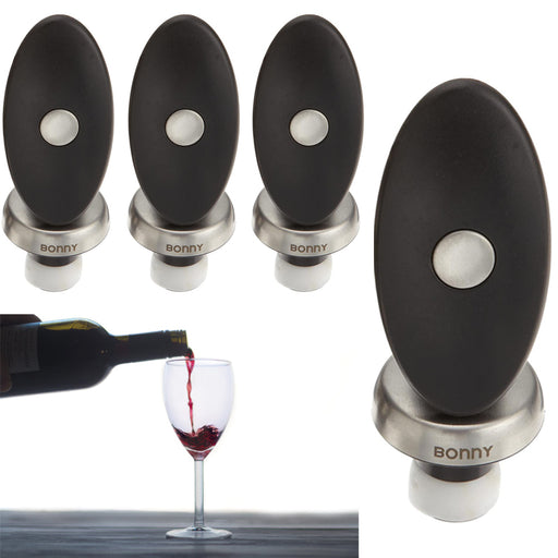 4 Pcs Bonny Bar Wine Stopper Bottle Cork Seal Freshness Champagne Push Lock Plug