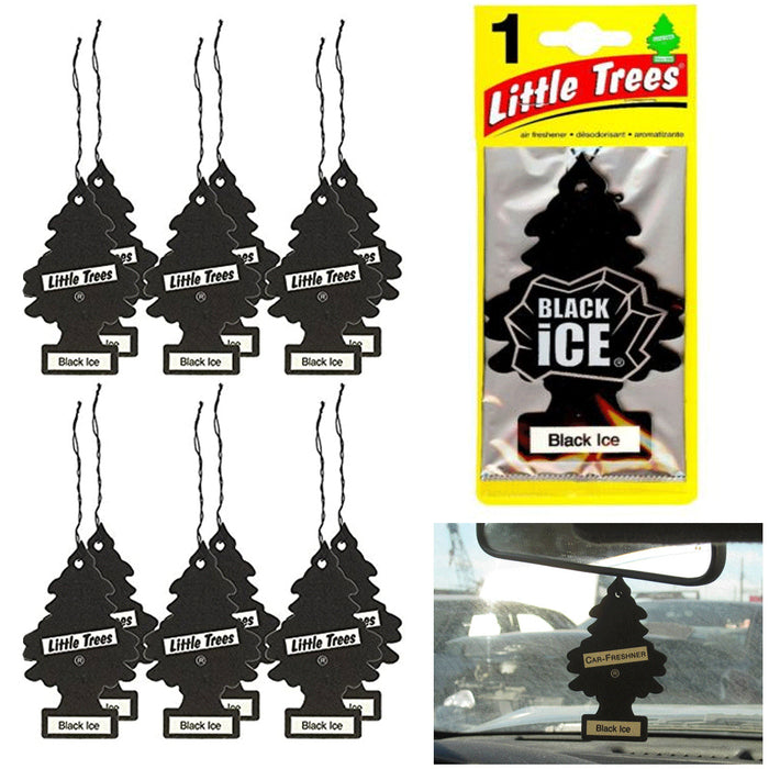 12 Little Trees Car Freshener Black Ice Scent Air Auto Fresh Home Hanging Office