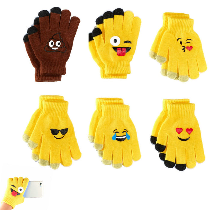 6 Pairs Cute Emoji Gloves Unisex Touch Sensitive Glove Adults Kids Expression