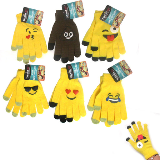 3 Pairs Emoji Gloves Unisex Touch Sensitive Glove Adults Kids Expression Hot New