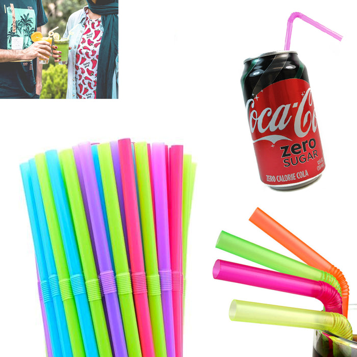 1000 PCS Long Flexible Drinking Straws Bendy Plastic Party Colorful Bar Supplies