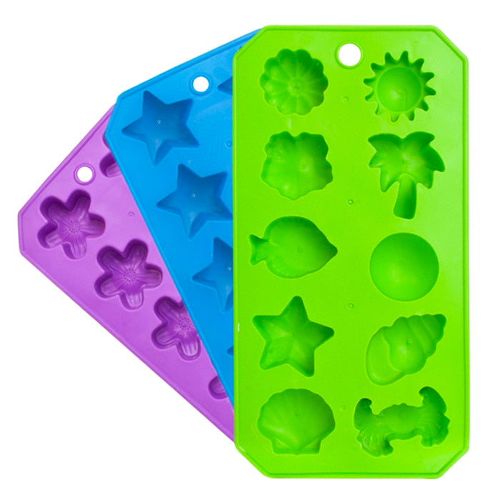 3PC Silicone Mold Chocolate Ice Cube Tray Fondant DIY Soap Jello Candy Maker Set