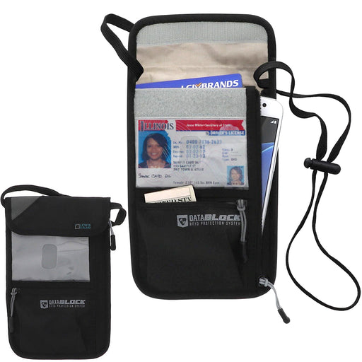 BeSafe Datablock Neck Stash Slimline RFID Block Passport Holder Id Lewis N Clark
