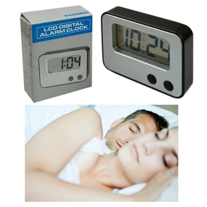 1 LCD Digital Alarm Clock Screen Display Time Compact Timer Desk Travel Portable