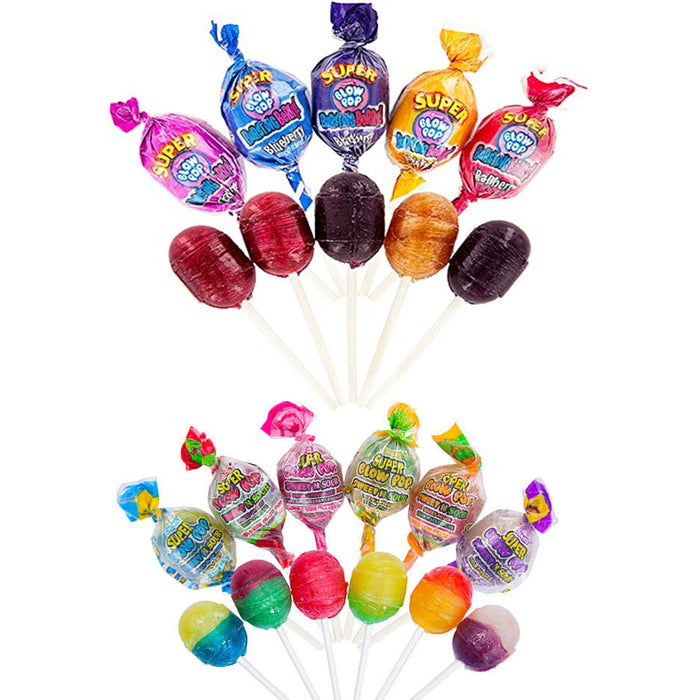 10 Pc Super Blow Pops Lollipops Colorful Sour Sucker Stick Candy Lollypops Party