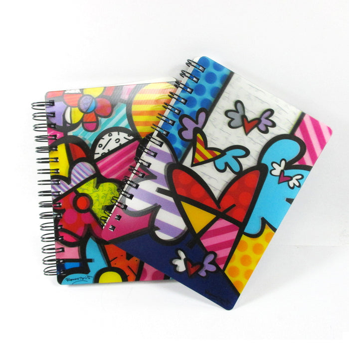 Set of 4 Romero Britto Memo Pad Notebook Journal Art Gift 3D Motion Home Office