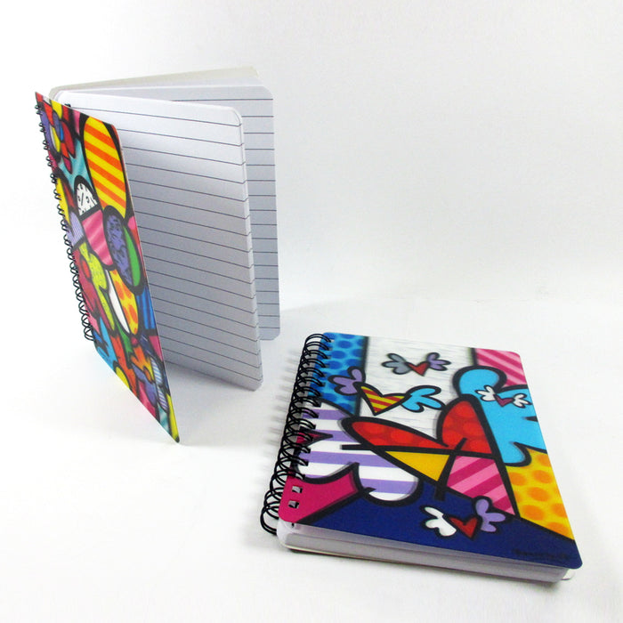 2Pc Set Romero Britto Memo Pad Notebook Journal Art Gift 3D Motion Home Office !