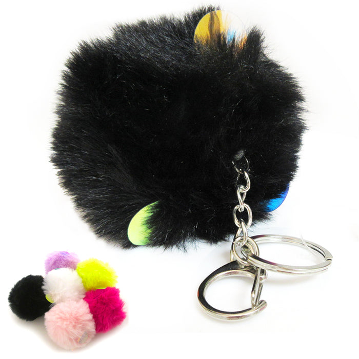 Pom Pom Keychain Fur Puff Ball Key Ring Fluffy Bag Accessories Car Charm Pendant