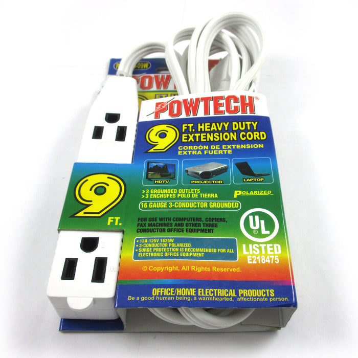 Power Extension Cord 3 Outlet 3 Prong UL Listed 16 Gauge 9 Ft Electrical Cable