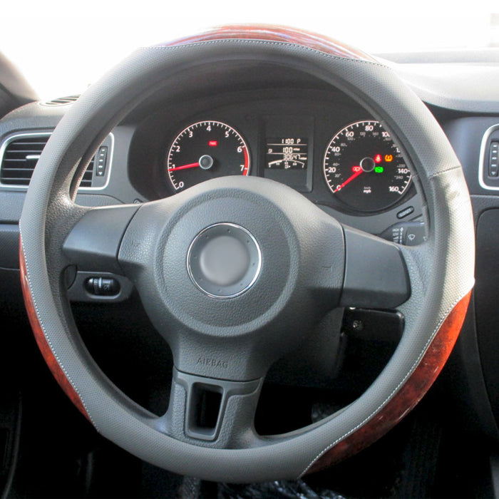 1 Pc Car Truck Steering Wheel Cover Auto Cool Universal Fits Most Gray Wood 15""