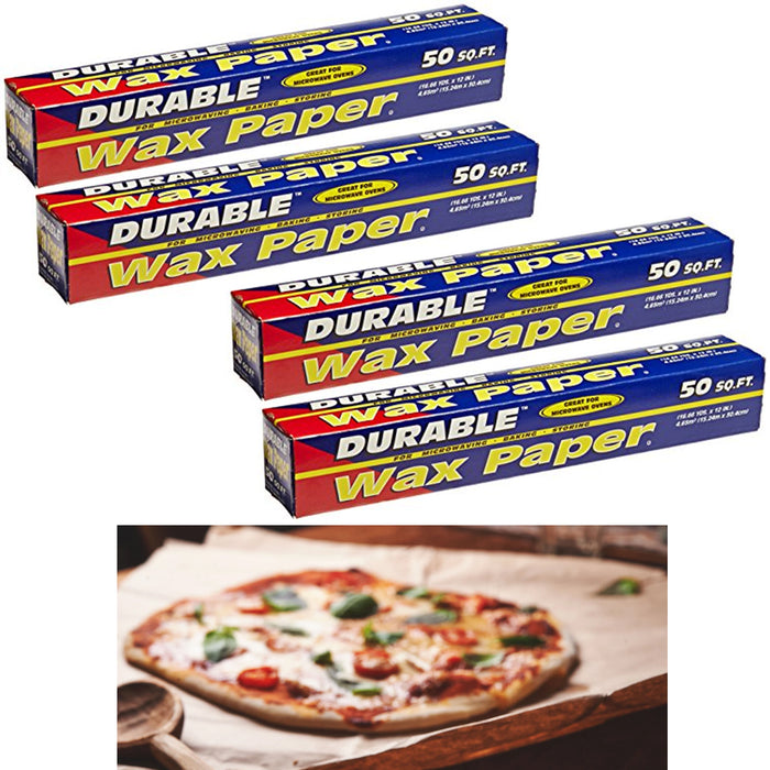 "4 Rolls Wax Paper Non-Stick Baking Pan Liner Oven Cooking Pizza Cake 12"" X 50Ft"