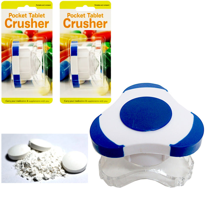 2 X Pill Crusher Tablet Grinder Medicine Cutter Durable Plastic Grind Crush New