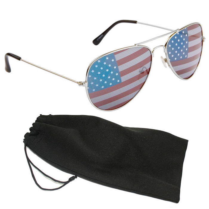 American Flag Pilot Sunglasses Classic Adult Size UV Protection US Shades Silver