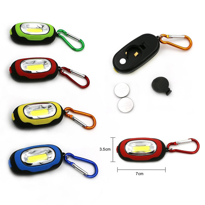 6 Flashlights Key Ring Portable COB LED Carabiner Keychain Camping Light Hiking