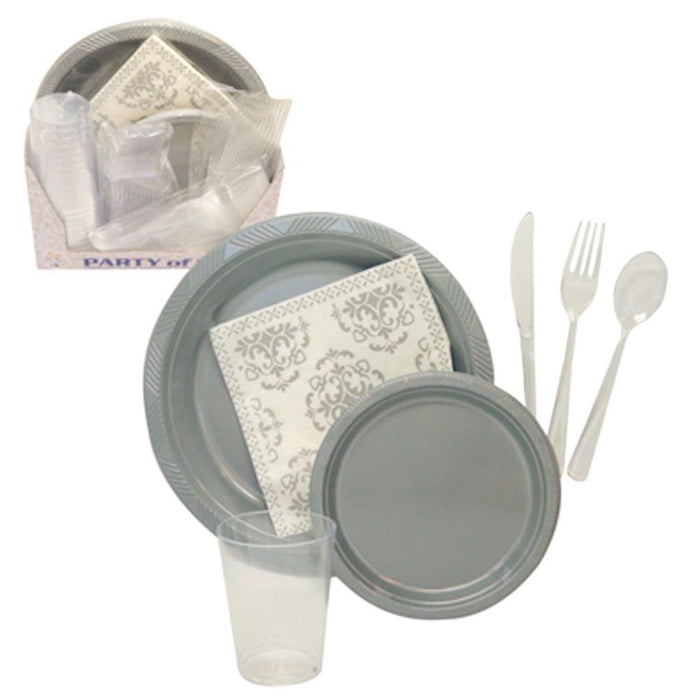 12 P Disposable Set Dinner Wedding Party Plastic Plate Fork Knife Napkin Glasses