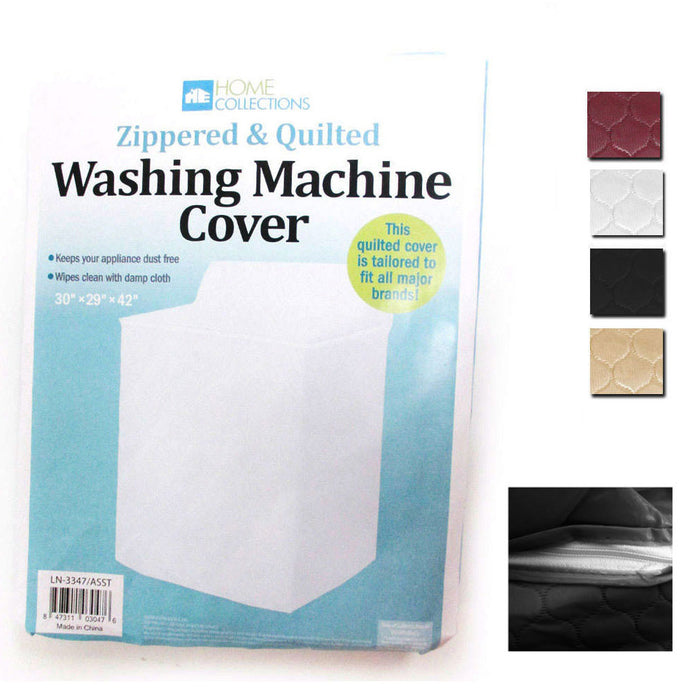 1 Vinyl Quilted Washing Machine Dryer Cover Zippered Zipper Top Dust Colors New