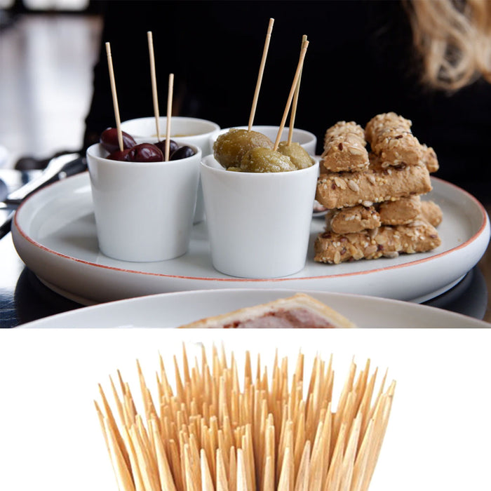 400 Wooden Toothpicks Fruit Cheese Picks Natural Bamboo Round Oral Care Catering