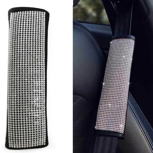 Crystal Silver Seat Belt Shoulder Pad Bling Car Cover Interior Cushion Accessory