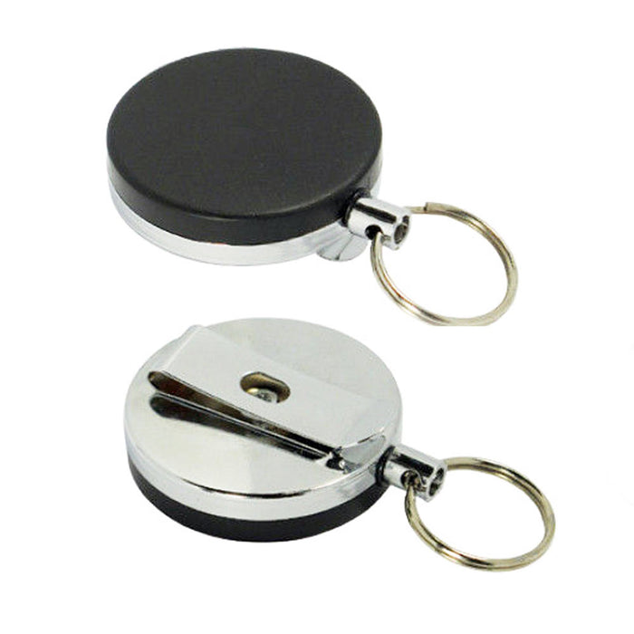 10 Retractable ID Card Badge Metal Reel Recoil Pull Keyring Belt Clip Holder 1.5