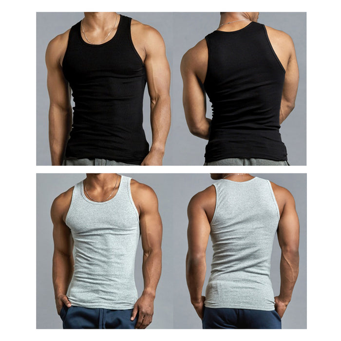 6 X Mens Tank Tops 100% Cotton A-Shirt Ribbed Pack Undershirt Black Gray XLarge