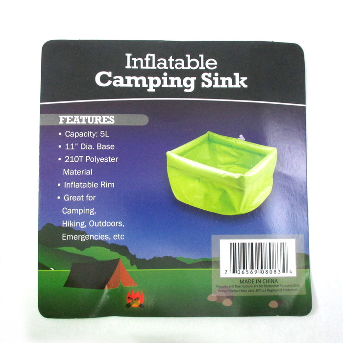"11"" Inflatable Camping Sink 5L Basin Bag Outdoor Wash Washing Folding Portable !"