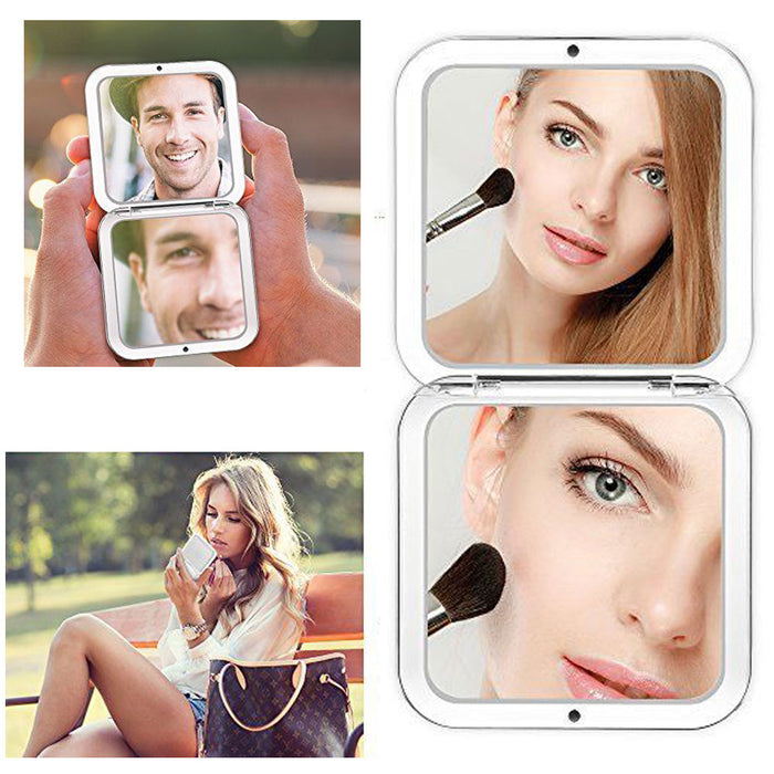 1 Double Sided Folding Mirror Compact Magnifying Travel Cosmetic Makeup Handheld