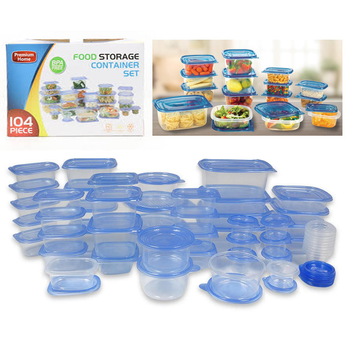 104 Pc Food Storage Container Set Lids BPA Free Meal Prep Kitchen Plastic Dish