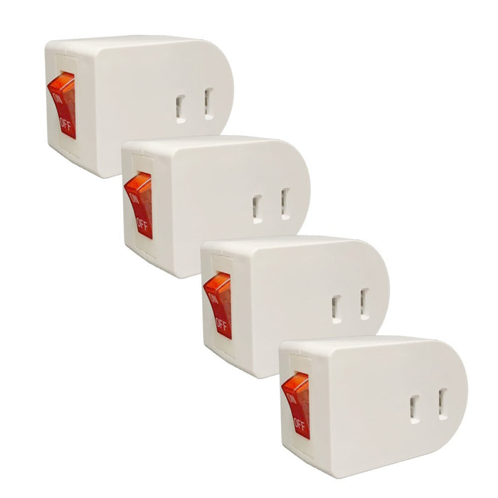 4 Pc Single Port Power Adapter Switch Outlet Wall Tap Electrical On Off Lighted
