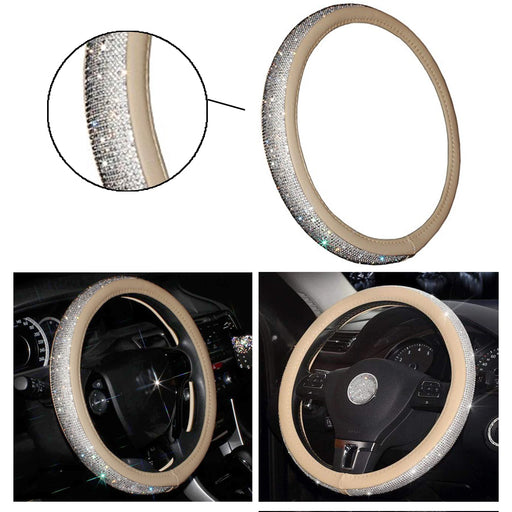 "1 Luxury Diamond Studded Leather Steering Wheel Cover Auto Fits Most 15.5"" Beige"