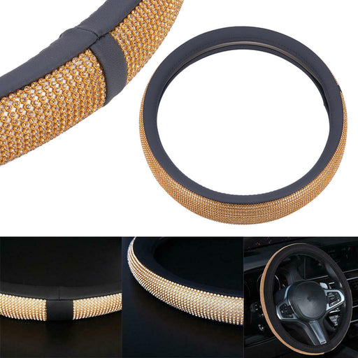 1 Steering Wheel Cover Bling Diamond Studded Black Leather Auto Fits Most 15.5""