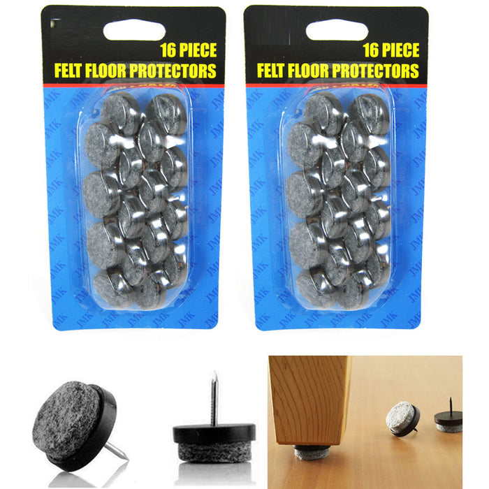 32 Pc Furniture Table Chair Leg Floor Felt Pad Skid Glide Slide Nail Protector