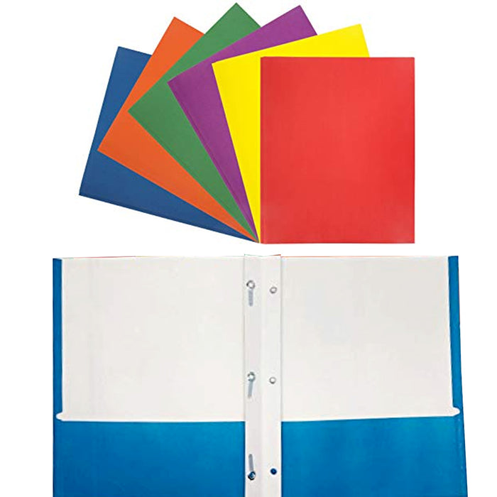 4 X Portfolio 2 Pockets Binder Document Folder Organizer 3 Prong Assorted Colors