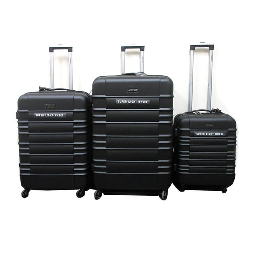 3 Pc Spinner Luggage Set Rolling Hard Suitcase Expandable Lightweight Travel Blk