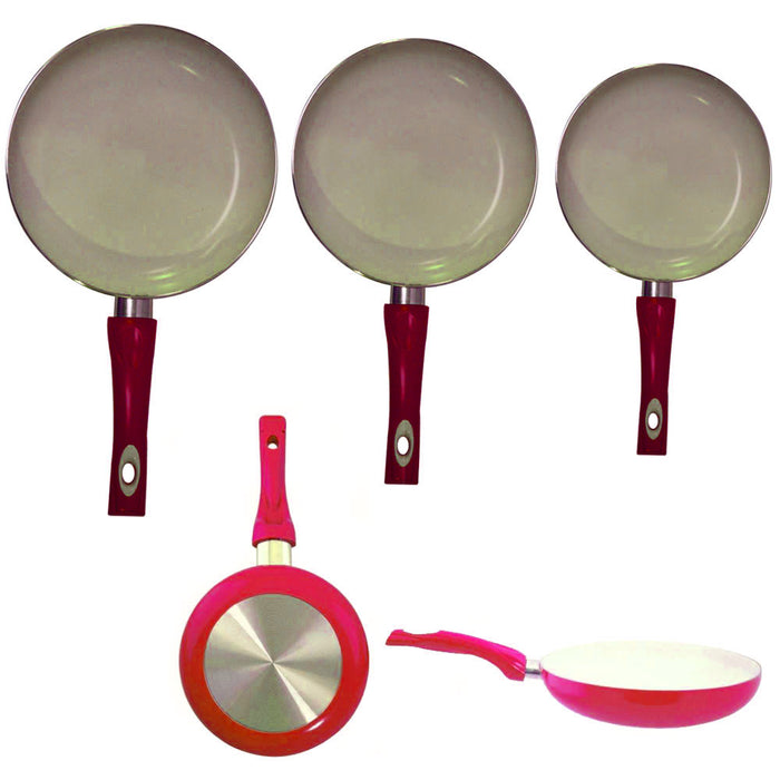 "3 Non Stick Ceramic Coated Fry Pan Set Eco Red Healthy Cookware 8"" 9.5"" 11"" New"