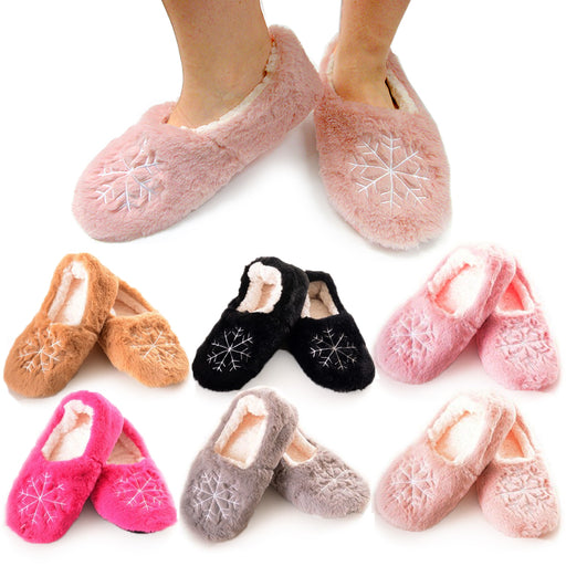 1 Pair Women Fuzzy Slippers Snowflake Winter Fur Thermal Warm Furry House Shoes