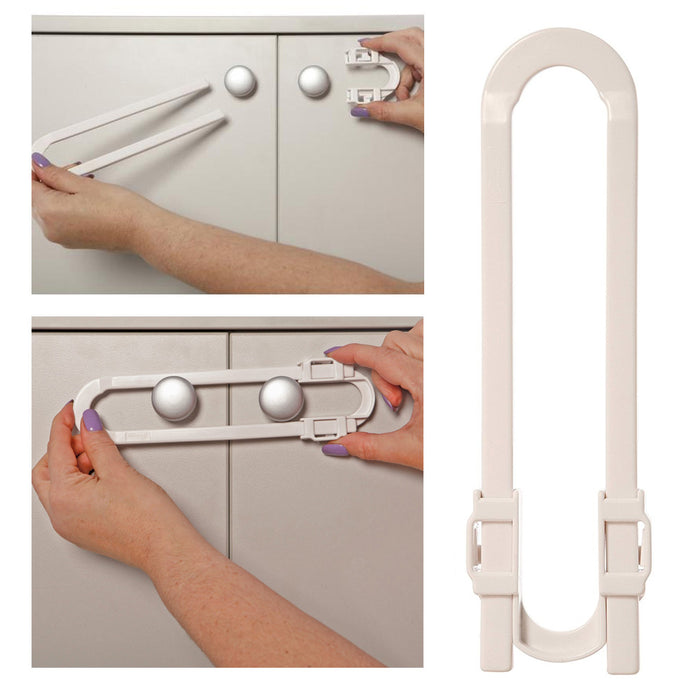 6 PCS Baby White Cabinet Glide Lock Extra Long Sliding Child Safety Baby Proof