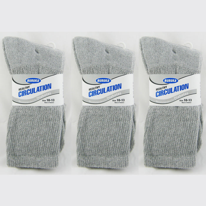 6 Pairs Diabetic Crew Circulation Socks Health Support Cotton Loose Fit Sz 10-13