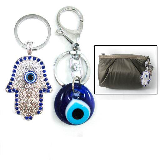 Blue Evil Eye + Silver Hamsa Fatima Hand Keychains Protection Good Luck Gift Set