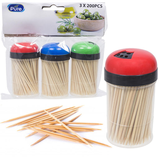 600 Bamboo Wooden Toothpicks Fruit Picks Natural Round Catering Party Oral Care