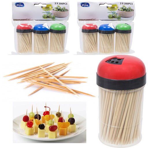 1200 Bamboo Wooden Toothpicks Fruit Picks Natural Round Catering Party Oral Care