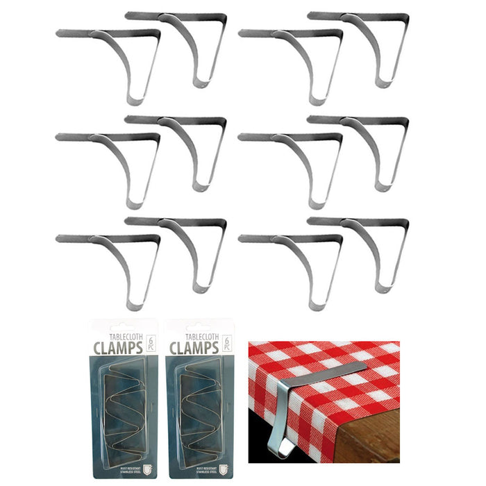 12 Pc Stainless Steel Table Cloths Picnic Clamps Cover Clip Holder Tablecloth