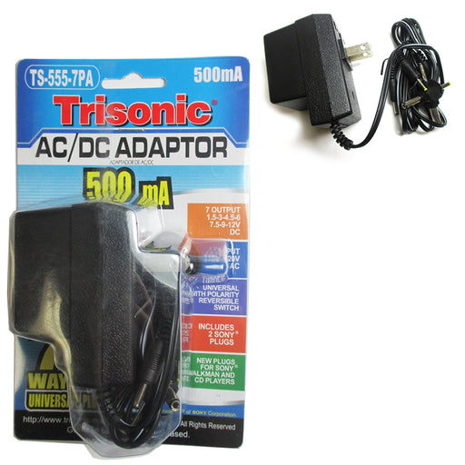 AC DC Universal Power Adapter Supply Output 1.5V to 12V 7 Way Plugs 500mA Charge